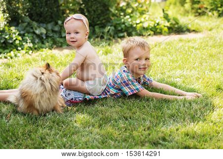 Little Kids Playing With Dog Pomeranian Spitz