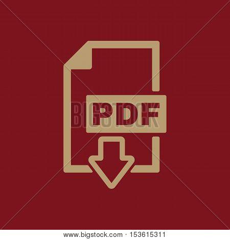 The PDF icon. File format symbol. Flat Vector illustration