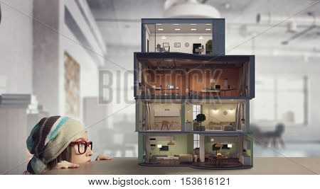 Design of your dream house . Mixed media