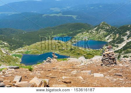 Aerial veiw of Seven Rila Lakes in National Park Rila, Bulgaria