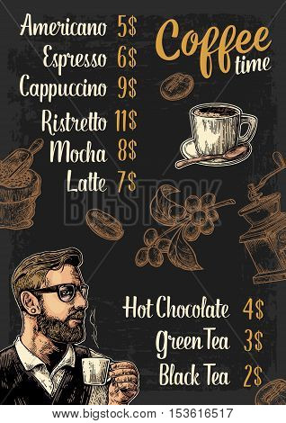 Restaurant or cafe menu coffee drink with price. Hipster barista holding a cup sack with scoop beans branch with leaf and berry. Vintage color vector engraving illustration on dark background.