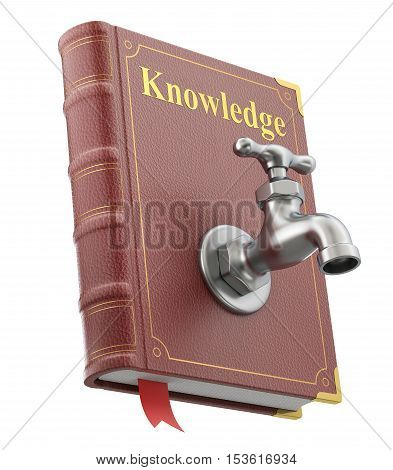 Knowledge concept with water faucet on the old book isolated on white background - 3D illustration
