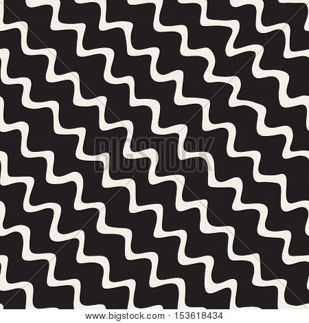 Vector Seamless Black and White Hand Drawn Diagonal Wavy Zigzag Lines Pattern. Abstract Freehand Background Design