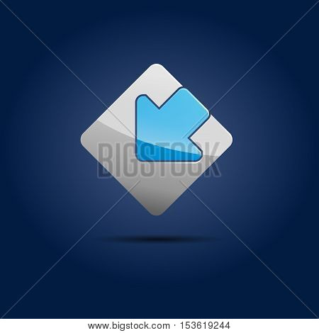 Vector sign input in the square in blue