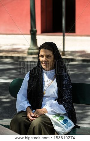 FUNCHAL MADEIRA PORTUGAL - SEPTEMBER 1 2016: Madeira Wine Festival - portrait of a womanl in traditional costume in Funchal on Madeira. Portugal