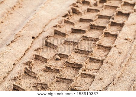 Tire Track On Wet Sand, Close-up