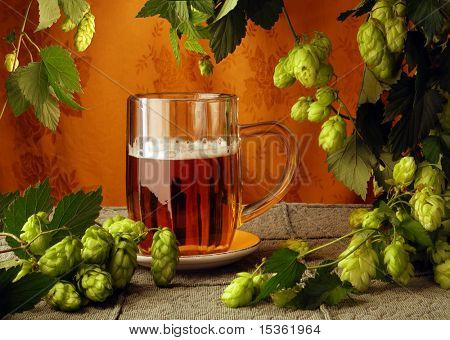 Beer and hops in retro style