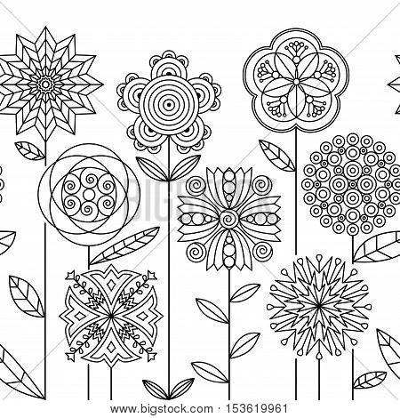 Seamless doodle botanical border pattern. Flower coloring book pages for adults & children.