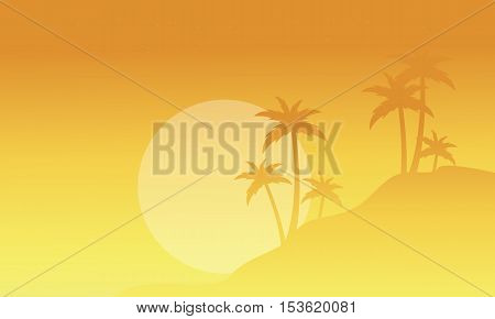 Silhouette of palm with fog scenery vector illustration