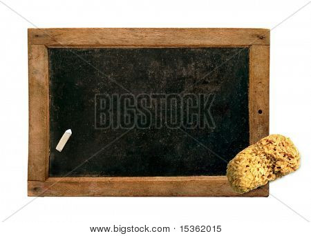 Vintage small blackboard with chalk and sponge, isolated