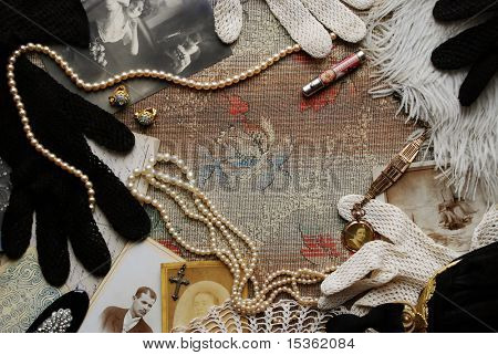 Vintage memories with old photos and fashion accessories