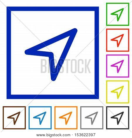Direction arrow flat color icons in square frames