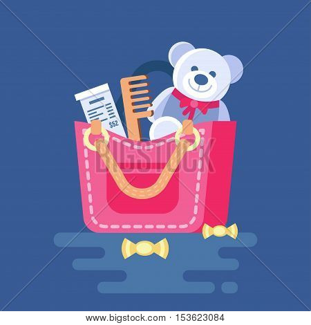 Various objects popping out from the bag. Vector illustration of handbag with stuff. Clipart of ladies bag with check, teddy bear, comb, candy. Trend modern flat pseudo volume style. Mess in the bag