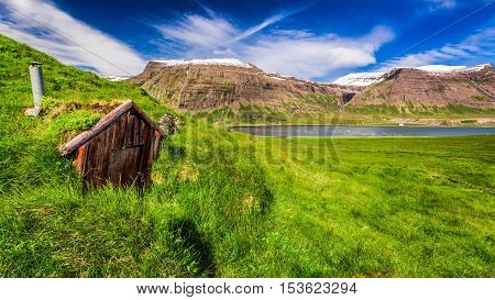 Small mountain hut in Iceland in summer