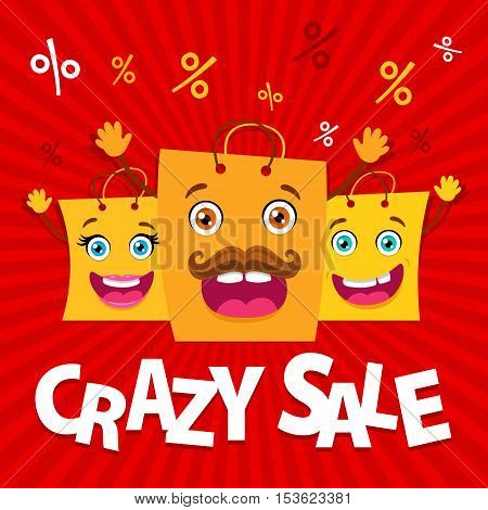 Crazy Sale. Happy Family Of Shopping Bags With Rising Hands And Open Mouths. Vector Funny Cartoon Fl