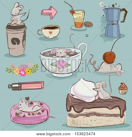 vector collection with cute mouse and desserts
