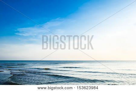 Beautiful blue sea wave and sky in Hua Hin, Prachuap Khiri Khan Province, Thailand.