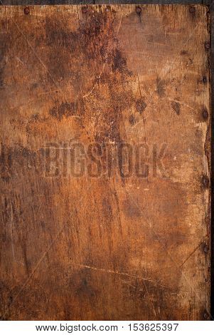 Wooden Panel With Rusty Nails On The Edge