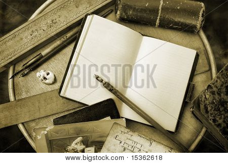 Vintage writing in sepia tone
