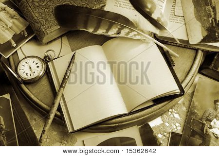 Vintage writing still life in sepia tone
