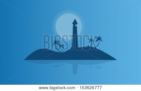 Silhouette of islands at night vector illustration