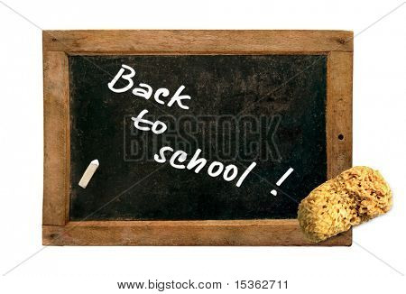 """Back to school!"" - on small vintage blackboard"