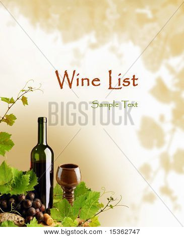 Wine motive design for wine list and other occasions