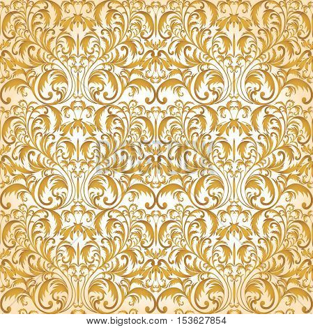 Seamless Baroque pattern. Golden pattern. Vintage background for invitation, fabrics. Vector illustration