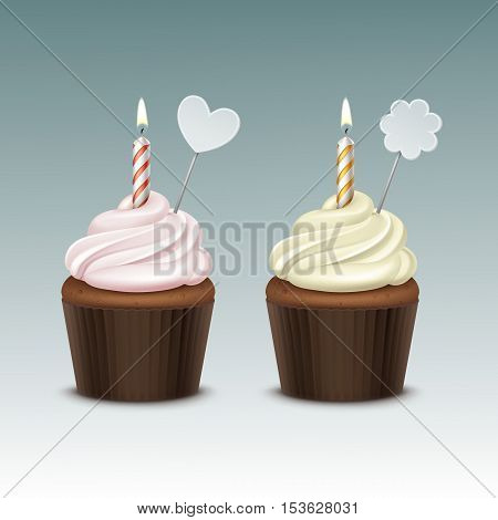 Vector Birthday Cupcake with Light Pink Yellow Whipped Cream and One Candle and Decoration Close up Isolated on Background
