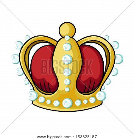 Crown icon in cartoon style isolated on white background. Museum symbol vector illustration.