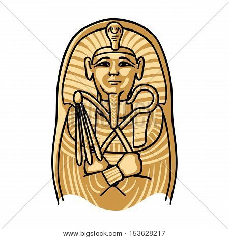Egyptian pharaoh sarcophagus icon in cartoon style isolated on white background. Museum symbol vector illustration.