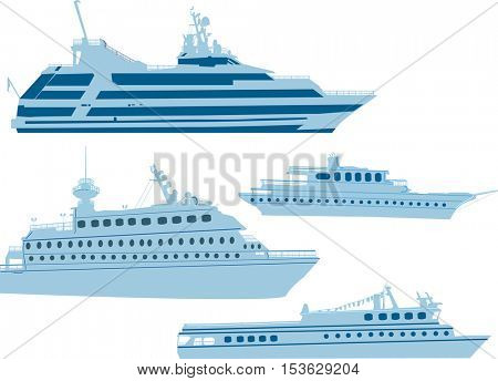 illustration with four ship silhouettes isolated on white background
