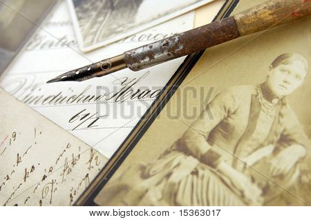 Vintage pen and photos