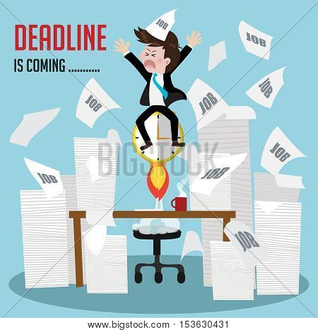 businessman busy work with deadline is coming soon.Vector illustration cartoon business concept
