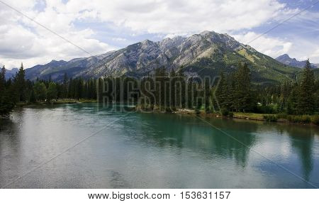 Rocky Mountain - View Of The Bow River Near Banff