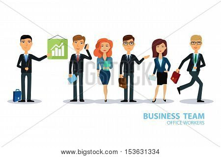 Business team. Group of workers. People characters. Men and women in office wear. Broker, seller, manager or dealer. Flat design vector illustration.