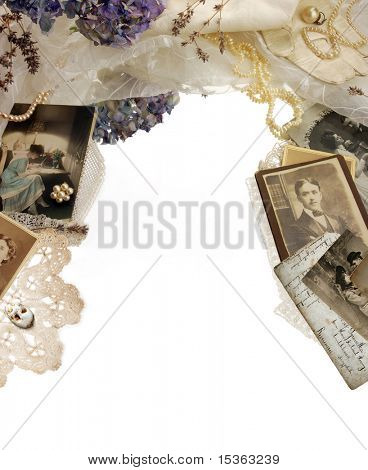 Vintage bordering with photographs, dried flowers and pearls
