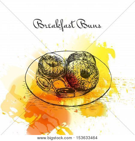Breakfast buns colorful watercolor effect illustration. Vector illustration of breakfast.