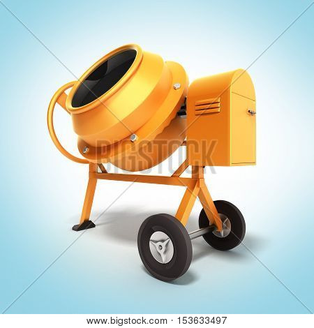 Concrete mixer 3D illustration on gradient close up