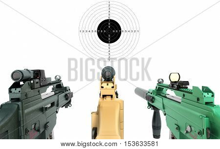 Three Machine Look At The Goal And The Concept Of Offensive Attacks 3D Render On A White