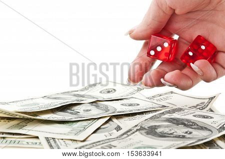 Girl Throws The Dice On Dollars