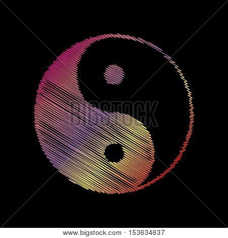 Ying Yang Symbol Of Harmony And Balance. Coloful Chalk Effect On Black Backgound.