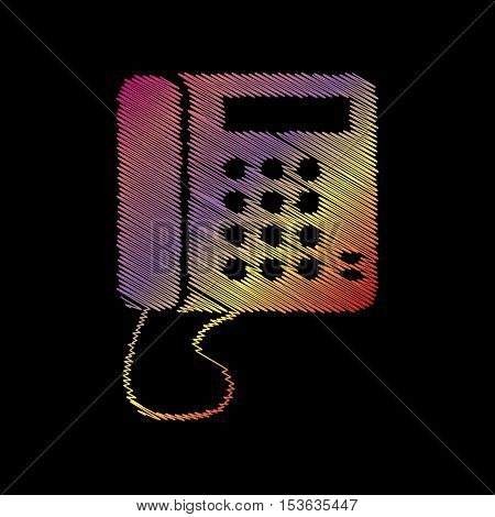 Communication Or Phone Sign. Coloful Chalk Effect On Black Backgound.