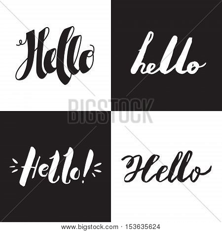 Hello ink handwritten lettering vector set. Black and white.