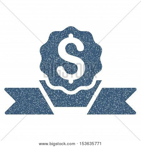 Dollar Award grainy textured icon for overlay watermark stamps. Flat symbol with dust texture. Dotted vector blue ink rubber seal stamp with grunge design on a white background.