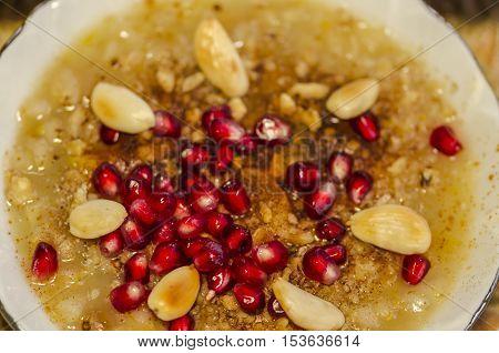 Turkish dessert  Ashura which is called Noah's pudding.