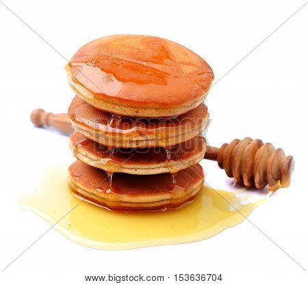 Pancakes with maple syrup on white background. Breakfast
