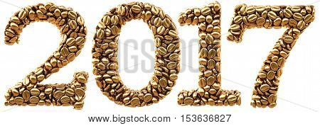 new 2017 year from gold coffee beans. isolated on white. 3D illustration