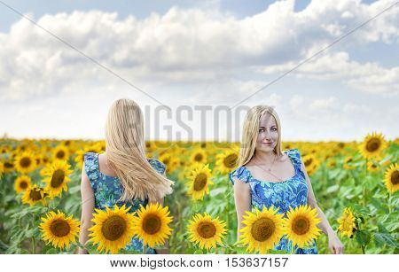 Collage. Close up portrait of a beautiful young girls in blue dress on a background field of sunflowers
