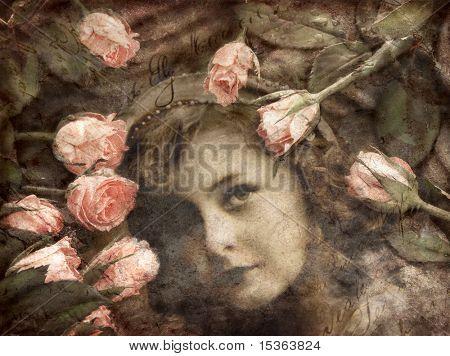 Hintergrund Bild von Mädchen und Rosen